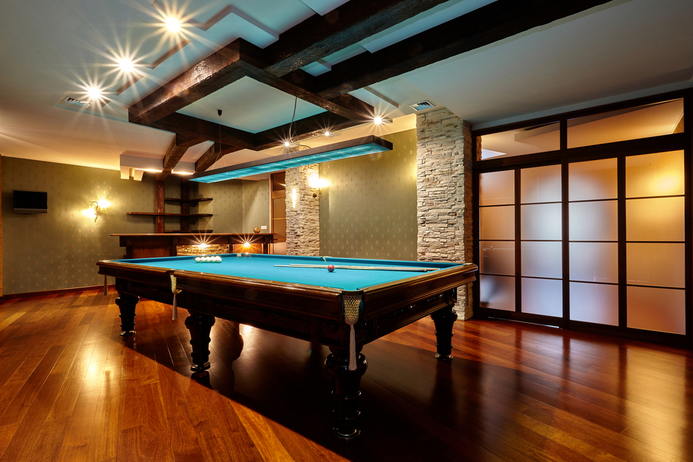 Billiards room in a finished basement