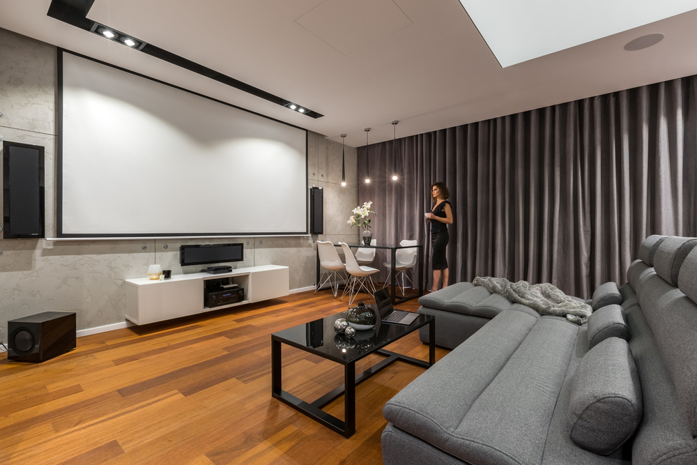 Home theatre in a finished basement
