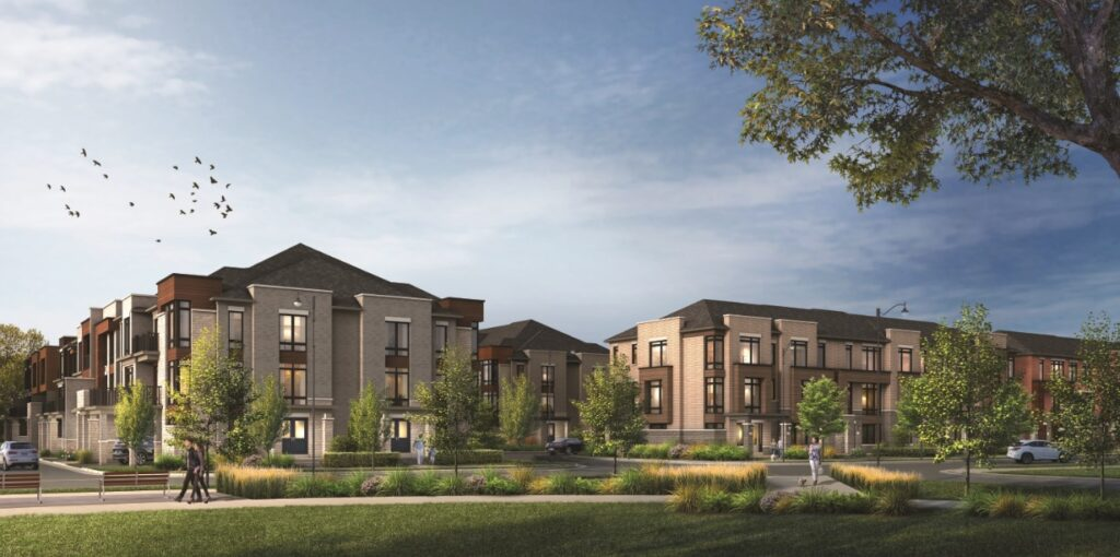 aTowns in Ajax streetscape rendering by Fieldgate Homes